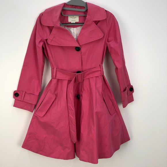Kate Spade Girls Pink Cotton Belted Trench Coat